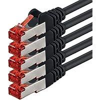 1m - Noir - 5 pièces - CAT6 Câble Ethernet Set - Câble Réseau RJ45 10/100 / 1000 Mo/s câble de Patch LAN Câble |Cat 6 S-FTP PIMF 250 MHz Compatible avec Cat 5 / Cat 6a / Cat 7
