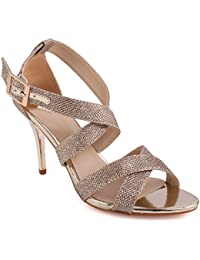 Unze Femmes 'Bombshell' Glittery Strappy Mid Basse Haute Talon Party Prom Get Together Carnaval Soirée Sandales de mariage Talons Chaussures Uk Taille 3-8