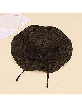 LVLIDAN Sombrero para el sol del verano Lady Anti-Sol Playa Grande plegable lado ancho sombrero de paja negro