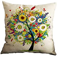 Nunubee Cotton Linen Home Decor Throw Sofa Car Cushion Cover Pillow Case Tree 3