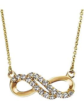 Goldmaid Damencollier Infinity 375 Gelbgold 18 Zirkonia weiß Ankerkette 45 cm
