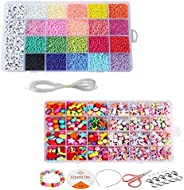 GrabMantra DIY kids beads kit, Seed Beads for Bracelets, 2mm Colored Small Glass Beads for Bracelets Jewelry M