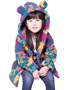 BOBORA Bambine ragazze inverno cappotti con cappuccio camuffamento stampato Giacche in pile capispalla lungo