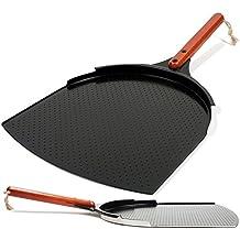 Innovadora Pala para Pizza de Aluminio. Paleta de 35cm con Cobertura de Cerámica y Mango de Madera de 25,4cm. Grande y Ligera.
