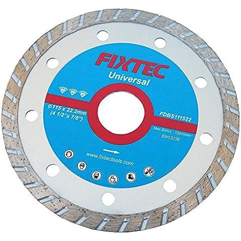 FIXTEC Expert Disco di taglio diamantato turbo per bagnato e asciutto, 115x 22,2mm lama per smerigliatrice angolare fdbs111522 - Taglio Wet Saw
