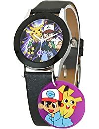 Dk LMP3 Newest Pokemon Cartoon Character Dangle Multi Color Dial Black Leather Strap Analogue Wrist Watch For...