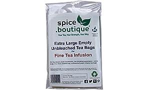 .boutique Plastic Free, Unbleached Paper Tea Bags, Extra Large for Fine Tea Infusion (50), 9x13cm