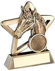 Personalizado grabado Harries caballo Mini Estrella Trofeo grabado gratis, 108mm