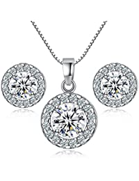 TaoNaisi Juego de pendientes de plata de ley 925 con cristales para boda, joyería
