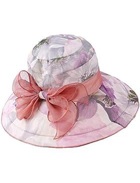 Leisial Mujer Señora Sun Hat Wide Brim Doble Capa Brim Diseño de flores Elegante Bowknot Cuenca Cap Verano Beach...