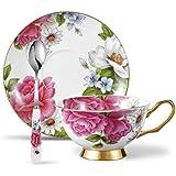 Panbado Tasses à Thé Tasse à Café 200ml en Porcelaine à la Cendre d'Os avec Soucoupe Cuillère Service à Café Thé Anglais (1 Set Tasse à Thé Sans Porte-tasse)