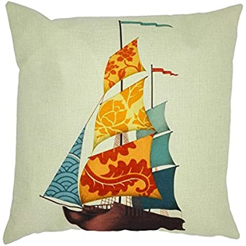 bonbonne funda de cojín barco de voiles mar vida lino algodón mezcla cuadrado funda de almohada sofá cama Home casa Sofa 45x 45cm