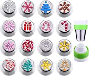 Gejoy 16 Pieces Russian Piping Tips Christmas Cake Icing Frosting Nozzle with Coupler for Cupcake Decoration,