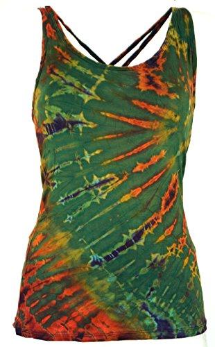 Guru-Shop Batik-Top, Tie Dye Top, Damen, Olive, Viskose, Size:38, Tops, T-Shirts, Shirts Alternative Bekleidung -