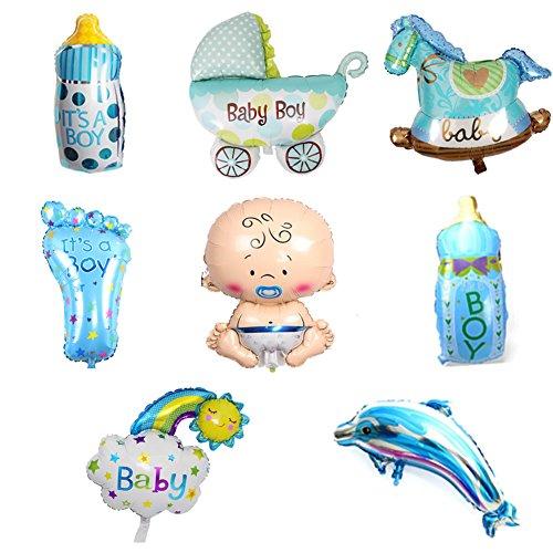 ED-Lumos Globos de Helio Decoración para Fiesta de Recién Nacido para el niño Globos de Aluminio 8pcs Forma Bebé Caballo 2Biberón Coche de niño Pie de bebé Delfín Arco Iris