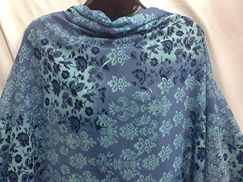 Blau/Powder Blue Crushed Chiffon/Georgette floral print Kleid/Craft Stoff (Crushed Chiffon)