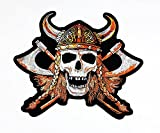 rabana XXL Wikinger Totenkopf Axt Helm Motorrad Biker Patch für DIY Bone Ghost Hog Outlaw Hot Rod Motorräder Rider Lady Biker Jacket T Shirt Patch Sew Iron on gesticktes Badge Schild Kostüm