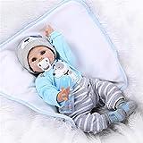 Echt Reborn Baby Doll Puppen Silikon Vinyl Niedlich WiederGeboren Babypuppen Blau Hunde Outfit Junge Charmante Augen Billig Kinder Spielzeug 22 Zoll 55 cm