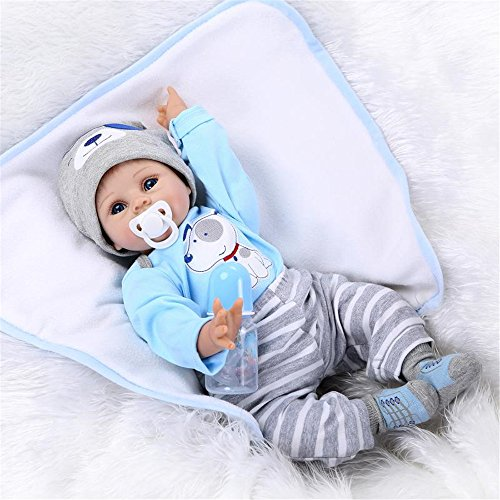 NPKDOLL Réaliste Reborn Bébé Poupons de Silicone Garçon Baby Doll Toddler Babies Poupée Bouche magnétique Enfants Cadeaux Jouet 22 Pouce 55 cm