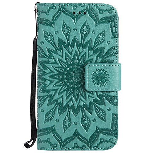 Für Asus Zenfone ZB452KG Fall, Prägen Sonnenblume Magnetisches Muster Premium Weiche PU Leder Brieftasche Stand Case Cover Mit Lanyard & Halter & Card Slots ( Color : Pink ) Green