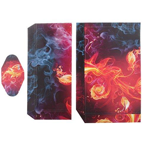 Generic Schutzfolie Sticker Aufkleber Set Für PS4 Playstation 4 Console Controller - Flammenblume
