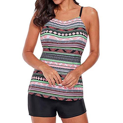 iYmitz Zweiteiliger Bikini Damen Schnelltrocknend Set Badeanzug mit Schultergurt Drucken Bademode Strandmode Bohemian Beachwear(Mehrfarbig,EU-38/CN-M)