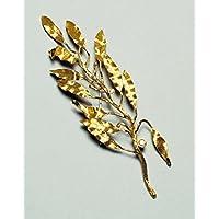 """""""Olivenbaum"""" Brosche in Gold 18 Karat mit 3 Billanten ct. 0.30 total"""