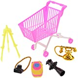 MagiDeal 5pieces Supermarket Shopping Cart Handcart Camera Phone Set For 12'' 1/6 Doll Barbies Kelly Ken