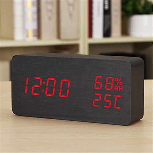 AIZIJI Moda LED Despertador electrónico Termómetro silencioso Luminoso Higrómetro USB cabecera Estudiante Plug, la Letra Escarlata Blackwood