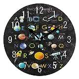 Use7 Home Decor ABC - Reloj de Pared con diseño de Alfabeto, Sistema Solar, Planeta, Redondo, acrílico, silencioso, para Sala de Estar, Cocina, Dormitorio