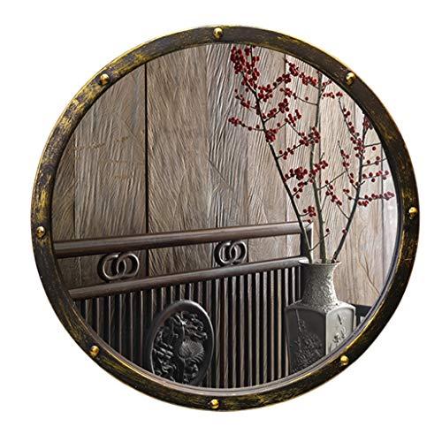 Weq Vintage Schmiedeeisen Spiegel Bad Old Antique Runde Badezimmerspiegel Art Round Mirror (Color : Black, Size : Diameter 50CM (20 INCHES)) (20 Zoll Bad-spiegel)