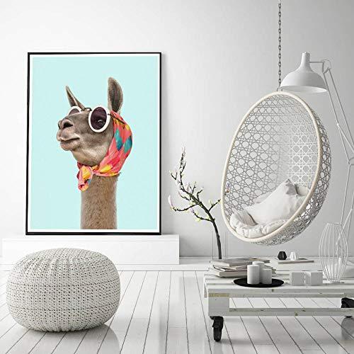 Mode Lama Kunstdruck Leinwand Poster Und Drucke Modernes Kleid Lama Halstuch Sonnenbrille Foto Bild Wandkunst Dekoration 50Cmx70Cm