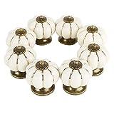Pomos Ceramica (8 Piezas) - Pomos Vintage Crema Calabaza con Tornillos 3,7 x 3,5 cm - Pomo Puerta Armario...
