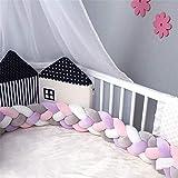 CULASIGN Babybett Bettumrandung Nestchen Kinderbett 4 Weben Baby Stoßfänger Nestchen Kantenschutz Kopfschutz Krippe Geflochtene Dekoration 2m/3m (2m,Lila + pink + grau + weiß)