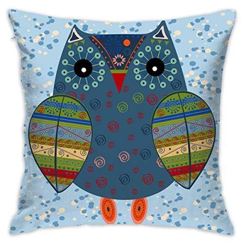XCOZU Kissenbezüge, 45,7 x 45,7 cm, süße Eule trägt National Style, Kostüm, dekorative Überwurfkissen, Bunte Kissenbezüge, quadratisch, für Sofa, Schlafzimmer, Auto, mit unsichtbarem - Kissenbezug Eule Kostüm