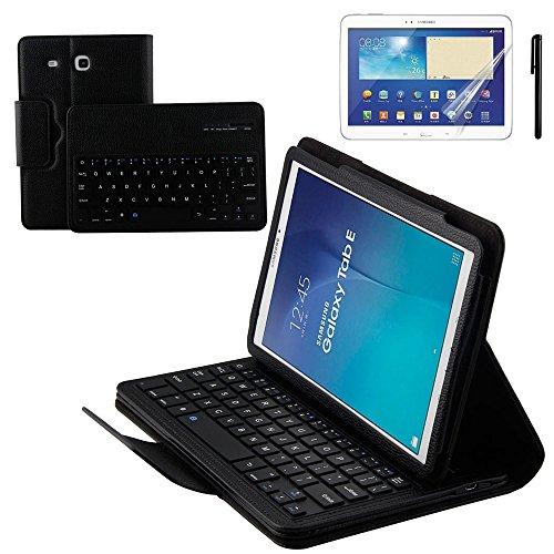 kvago tastiera Bluetooth Wireless removibile cover shell tastiera QWERTY Elegante in pelle PU Flip Cover Stand Up Custodia con tastiera per Tablet Samsung Galaxy Tab E 9.6 inch SM-T560 SM-T561 SM-T565 + protezione schermo + Pennino Penna (Black)