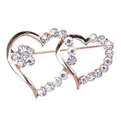 Zrong Elegant Crystal Rhinestone Heart Design Wedding Bridal Pin Brooch  Xmas Decor