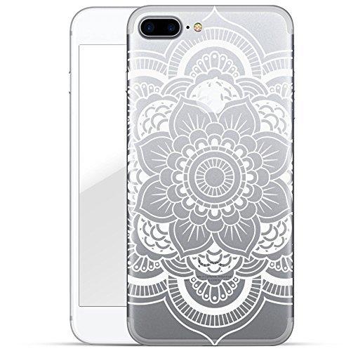finoo | iPhone 8 Plus Weiche flexible Silikon-Handy-Hülle | Transparente TPU Cover Schale mit Motiv | Tasche Case Etui mit Ultra Slim Rundum-schutz | Cute but psycho Blume Henna 1