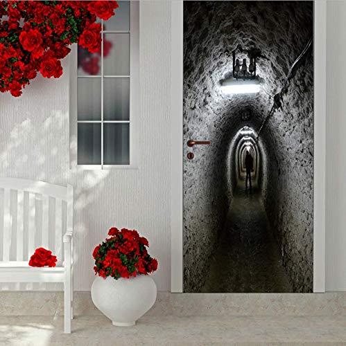 Air Defense Refuge Tür Scary Scary Halloween Dekoration Badezimmertür Aufkleber Abnehmbare Tür Boden Vinyl Kunst 77 * 200CM ()