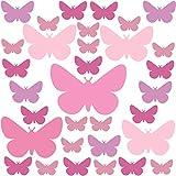 PREMYO Set 32 Adesivi Murali Bambini Farfalla - Wall Stickers Muro Cameretta - Decorazione Parete Camera da Letto Rosa