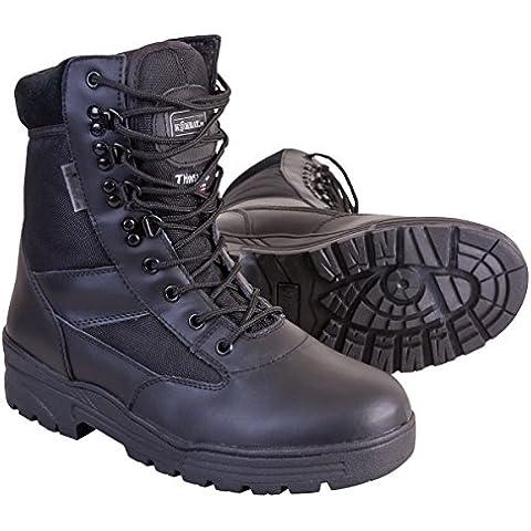 Kombat UK-Fondello di protezione in pelle, da uomo, a mezza Cordura Patrol-Stivali, colore: nero, Taglia: 45