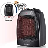 MARNUR Oscillating Fan Space Heater Quiet Ceramic Heater with Overheat Protection, Tipover Protection Switch Adjustable Thermostat, 2 Heat Settings, Portable with Recessed Handle for Bedroom