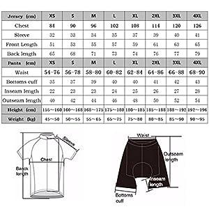 RUIKODOM Verano Hombres Maillots de Bicicleta Conjunto de Ropa de Ciclo Jersey de Manga Corta + Pantalones Cortos Acolchados Cómodo Respirable Secado rápido