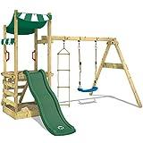 WICKEY Spielturm FunFlyer Spielhaus Kletterturm mit Schaukel Sandkasten Kletterleiter, grüne Rutsche + grüne Plane