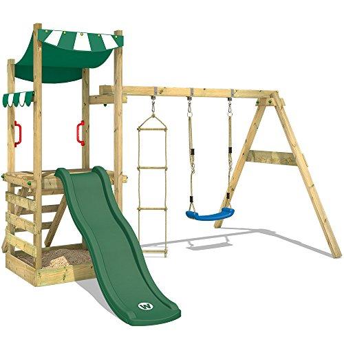 WICKEY Parque infantil FunFlyer Parque para niños con tobogán, cajón de arena y cuerda para trepar, tobogán verde + lona verde