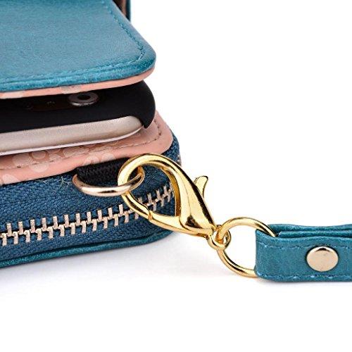 Kroo Portefeuille pour femme avec bracelet sac bandoulière universel compatible avec Smart Étui pour téléphone portable