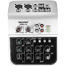 Neewer NW02-1A 4 canales Mesa consola de mezclas economico para micrófono de condensador, mezclador de sonido de Audio compacto con 48V Phantom Power 2 banda EQ 2 vías estéreo de línea RCA de entrada/salida 4 banda nivel del LED indicador de entrada