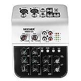 Neewer NW02-1A 4 Canales Mesa Consola de Mezclas Económico para Micrófono de Condensador, Mezclador de Aonido de Audio Compacto con 48V Phantom Power