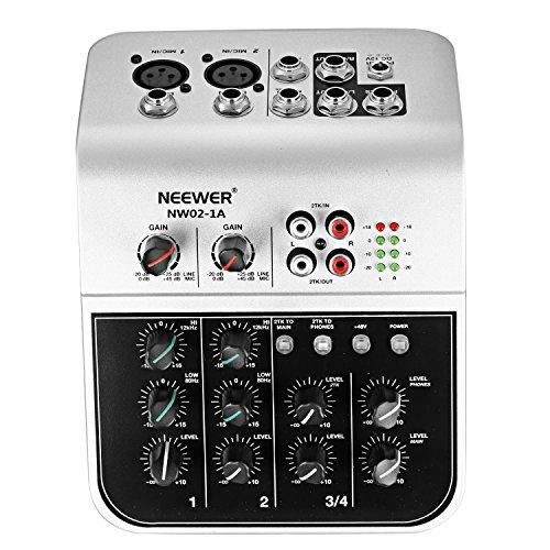 Neewer NW02-1A 4-Kanal Ekonomisches Mischpult für Kondensatormikrofon, Kompakter Audio Sound Mixer mit 48V Phantomspeisung 2 Band EQ 2-Wege Stereo Verbindung Eingang Cinch Eingang / Ausgang 4 Band LED Pegelanzeige
