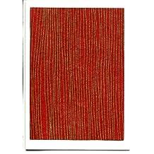 Tarjeta de felicitación líneas, Nepal hecho a mano Papel, color rojo oro